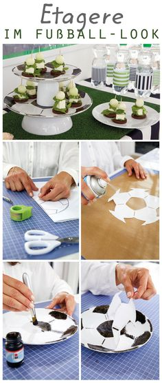 Make a cake stand Kids Soccer, Soccer Party, Soccer Centerpieces, Table Decorations, Party Buffet, Classic Wedding Dress, 3rd Birthday Parties, Boy Shower, Projects For Kids