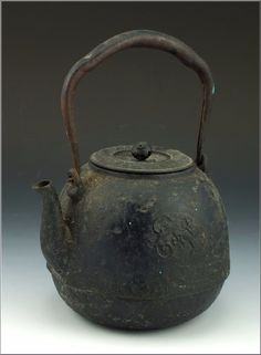Nice Signed Edo Period Japanese Tetsubin Iron Kettle w Relief Decoration | eBay