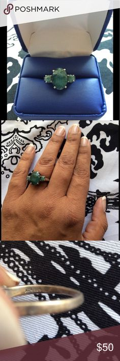 TEMP PRICE DROP Emerald & Silver Ring This is a raw/rough cut emerald ring  Slightly bent 🌺Bundle your likes for a private discount💲 Jewelry Rings