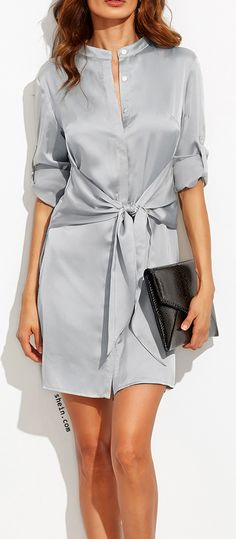 Silver roll up sleeve tie waist wrap dress.