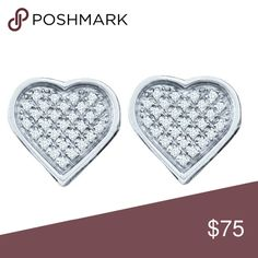 Sterling Silver 💎❤️ Stud Earrings 1/10 Cttw Sterling Silver White Diamond Concave Womens Heart Screwback Stud Earrings Small Dainty 1/10 Cttw  Product Specification Metal Purity	Sterling Silver Diamond Carat	1/10 Ct.t.w. Diamond Clarity / Color	I2-I3 / I-J Length	6 mm ( .24 inches ) Width	7 mm ( .28 inches ) Gram Weight	1.27 grams (approx.) Style	Studs Item Number	57614 Jewelry Earrings