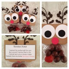 Reindeer noses contain 7 malt balls and 1 red gummy. There is a poem on the back that reads:  I wanted the perfect gift for you  But couldn't decide what to do.  I almost sent you a dozen roses  Instead, here are some Reindeer Noses!