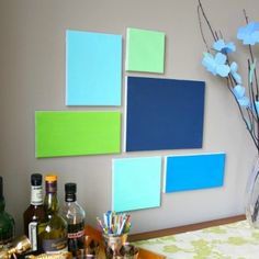 Plain canvases with different shades of the colour pallet!
