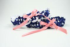 coral and navy wedding garter set