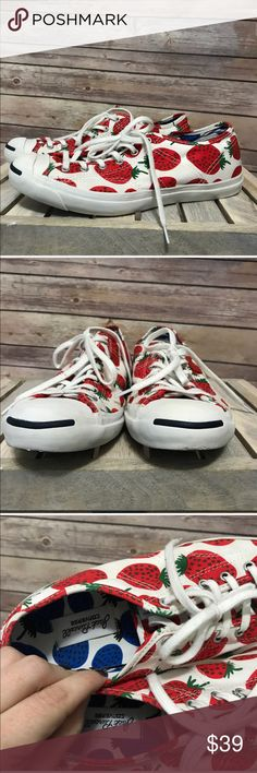 Converse Jack Purcell Marimekko Strawberry Sneaker These converse are awesome!  Limited edition Marimekko Red Strawberry print. Jack Purcell style. Some slight spots of yellowing(from glue) pictured. Not noticeable while wearing. Size 9.5 women's, euro 41 Shoes Sneakers