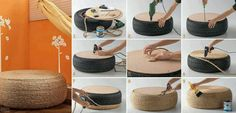 I know people around here have plenty of rope and old tires laying around. Add furniture legs for a nice DIY coffee table! Rope Tire Ottoman, Diy Ottoman, Homemade Ottoman, Ottoman Design, Ottoman Bench, Fire Pit Furniture, Furniture Legs, Garden Furniture, Furniture Cleaning