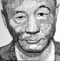"""doodled portrait by Jason Sho Green -- look closely at the """"hidden objects"""" -- very clever"""