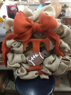 Tennessee Volunteer Football Wreath for Any Door on Etsy, $37.00