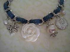 "I like the ""tough"" denim with the ""dainty"" flowers and pearls : )"