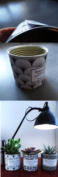 DIY cache pot Art déco à partir de vielles conserves// Free printable https://wherebeesare.com/2016/11/18/diy-des-caches-pots-art-deco-free-printable/