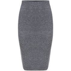 SheIn(sheinside) Grey Slim Split Sweater Skirt ($23) ❤ liked on Polyvore featuring skirts, stretch pencil skirt, grey knee length skirt, grey skirt, knee length skirts and slimming skirt