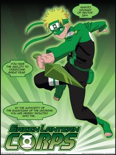 Green Lantern Naruto by on DeviantArt Blue Lantern, Green Lantern Corps, Comic Books Art, Comic Art, Book Art, Green Superhero, Guardians Of The Universe, One Piece Episodes, Naruto And Sasuke Wallpaper