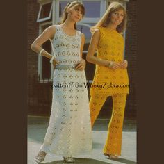 """WZ209 a crochet pattern in open """"spider stitch"""" lace for a  tunic dress and trousers outfit-or maxi dress option. iconic sixties look- so wearable today too!Emu2866"""
