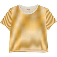 Monki Cropped tee (110 UYU) ❤ liked on Polyvore featuring tops, t-shirts, shirts, crop tops, sleek stripes, stripe t shirt, yellow striped shirt, crop tee, yellow crop top and denim shirts