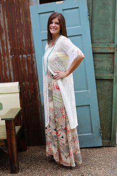 Romance Is In The Air Lace Kaftan Long Lace Split Kaftan W/Fringe is a beautiful addition when layered over any of our colorful tanks.  Looks fabulous with palazzo pants!