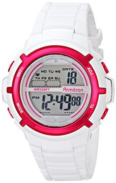 Armitron Sport Womens 457045WHT Digital Watch with Textured Resin Strap ** Read more reviews of the product by visiting the link on the image.Note:It is affiliate link to Amazon.
