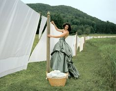 Rodney Smith Woman, hanging laundry, nature, outside, fresh