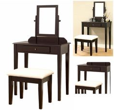 Makeup Vanity Table Set With Mirror And Stool Bedroom Dressing Table Desk New   #MakeupVanityTableSet #Modern