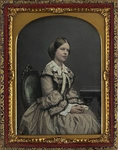 Daguerreotype.  Woman in dress. c. 1850.
