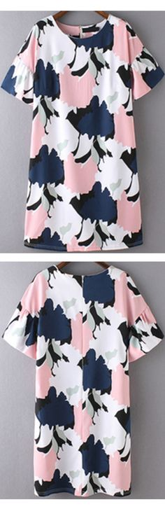 New trendy for women 2016-Color print tunic dress with ruffle sleeve .Just click & sign up to save 60% off your 1st order.