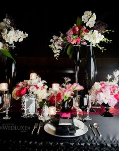 Gorgeous table setting from Ballet inspired wedding feature on WedLuxe Magazine, via The Cakestress