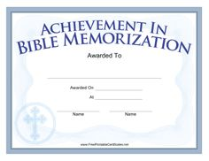 A printable certificate to be presented upon completion of a bible featuring a gothic cross this blue church certificate rewards memorization of bible passages free yadclub Choice Image