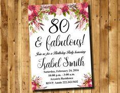 80th Birthday Invitation - Watercolor Flowers Invitation - Floral Invitation - Women Invitation Digital File