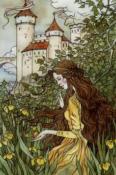 The Frog Prince: Golden Ball by Liga Klavina / liga-marta Images Esthétiques, Art Ancien, Fairytale Art, Fairytale Drawings, Book Illustration, Fairy Tale Illustrations, Conte, Art Inspo, Character Art