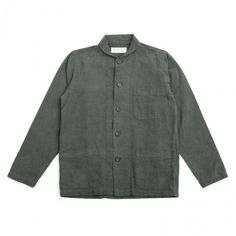 Universal Works Shawl Collared Overshirt in Olive