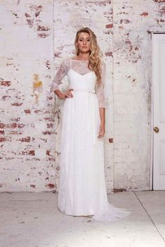 Chic wedding dress with lace overlay and sweet quarter length sleeves from Karen Willis Holmes' The Wild Hearts Collection