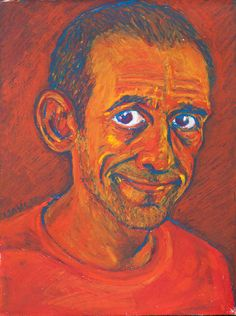 Isaac Hernández, self-portrait, oil pastel on paper.