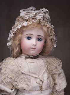 "22"" (56 cm) Very Beautiful Antique French Bisque Bebe Doll Triste by from respectfulbear on Ruby Lane"
