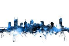 Nashville Tennessee Skyline Print By Michael Tompsett