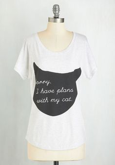 Caturday Night Tee - Exclusives, Mid-length, Knit, Novelty Print, Casual, Cats, Short Sleeves, Scoop, White, Short Sleeve, Grey, Black, Sayings, Top Rated, Fit & Flare