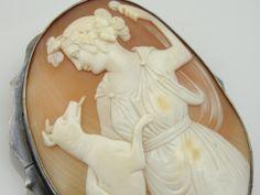 Antique Art Nouveau Fine Shell Cameo, Goddess Diana with Dog, Silver Cameo Brooch