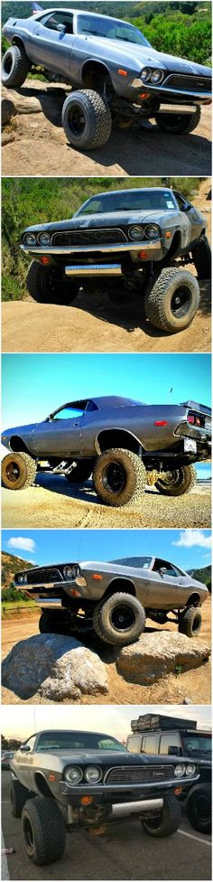 A lifted and trail-ready Dodge Challenger isn't something you see every day. Looks like an E-body Mopar, climbs like an Weird Cars, Cool Cars, Motorcycle Camping, Lifted Cars, Automobile, Pony Car, Dodge Trucks, American Muscle Cars, Dodge Challenger