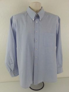 CLAYBROOKE Men's Dress Shirt 171/2 34-35 Blue Solid Button Cotton Classic Standa #Claybrooke #ebay #Claybrooke #DressShirt