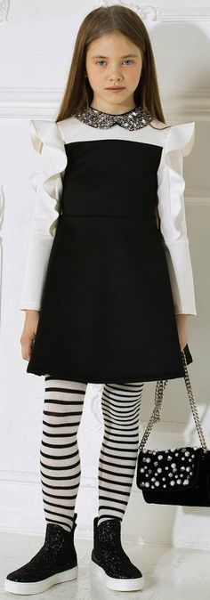 MISS GRANT Kids Girls Black & White Party Dress. FW 17/18