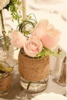 Cute DIY Wedding Reception Table Decor/ Guest Favors using Personalized Glass Mason Jar