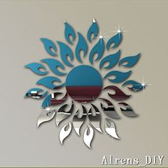 Alrens_DIYTM 27pcs Sun Flower Mirror Surface Crystal Wall Stickers DIY Acrylic 3D Home Decal Living Room Murals Wall Paper Decor adesivo de parede GiftSilver ** Find out more about the great product at the image link.