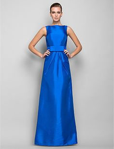 Sheath/Column Bateau Floor-length Taffeta Evening Dress (699457) - KRW ₩ 113,963