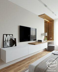 Master bedrooms decor - Project Scandinavian elements Borovaya Belarus on Behance Home Design, Home Interior Design, Modern Design, Flat Design, Design Ideas, Bedroom Tv Wall, Bedroom With Tv, Wall Tv, Wall Desk