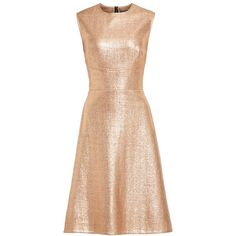 Women's Lela Rose Coated Metallic Seamed A-Line Dress (1.450 BRL) ❤ liked on Polyvore featuring dresses, vestidos, metallic tweed dress, fit and flare dress, wetlook dress, lela rose and shiny metallic dress