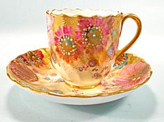 Royal Crown Derby Jeweled Demi Cup and Saucer