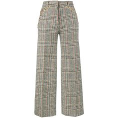 Y / Project high waist chain embellished check trousers (€940) ❤ liked on Polyvore featuring pants, high-waisted pants, high-waist trousers, checkered pants, high rise pants and checked pants
