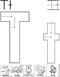 Alphabet Letter T Worksheet   Standard Block Font   Preschool Printable Activity