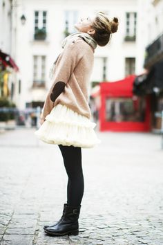 tutu skirt, boots and sweater