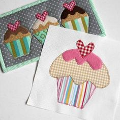 The Splendid Sampler Block no. 63 'Icing on the Cake'. Simple applique with an added smidgeon of raspberry icing. Free Applique Patterns, Baby Applique, Mug Rug Patterns, Applique Templates, Sewing Appliques, Applique Quilts, Applique Designs, Quilt Patterns, Owl Templates