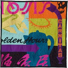 "Oaktown, 30"" x 30"", Silk and Cotton Quilt, ©2008-Love these!  They're so different!  Make one with comic book words for M."