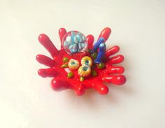 jasmin french ' CORAL ' ringtop lampwork bead ooak by jasminfrench $48